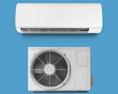 White color air conditioner and conditioner unit isolated on white background with clipping path